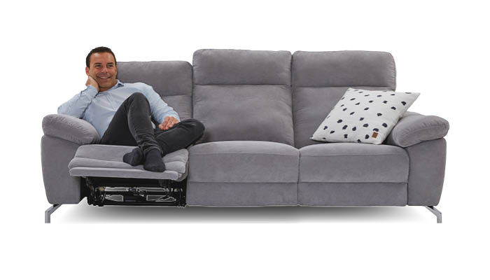 Sofa 3 sitzer grau mit relaxfunktion