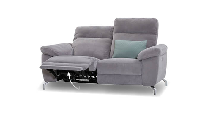graues 2 Sitzer Sofa mit Relaxfunktion