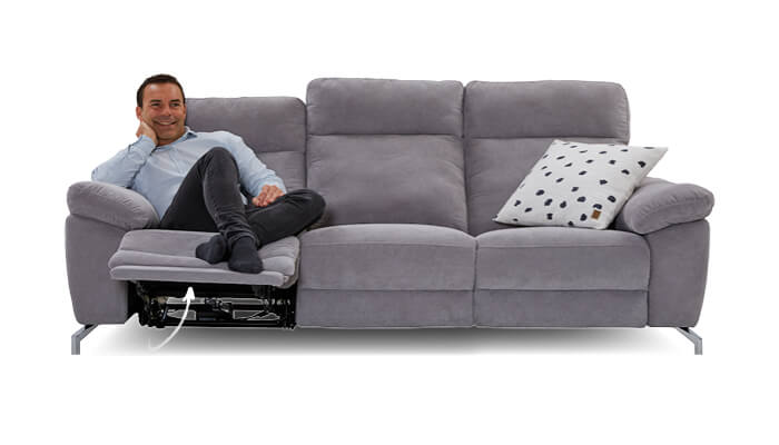 graues 3 Sitzer Sofa mit Relaxfunktion