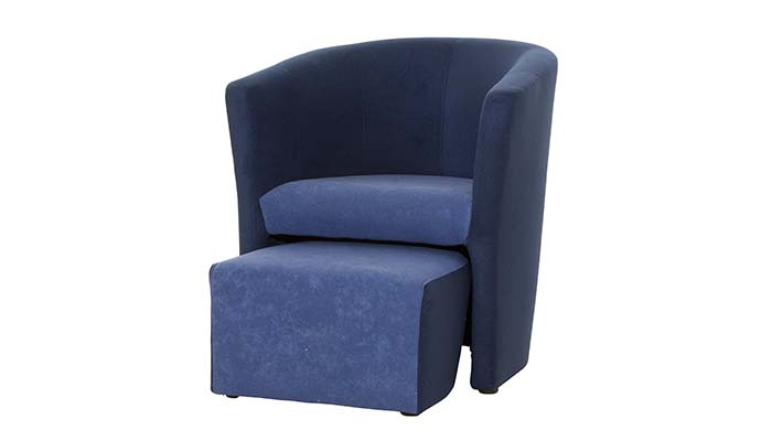 Sessel mit hocker blau
