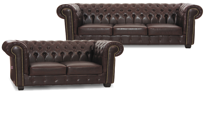 Couchgarnitur Chesterfield dunkelbraun