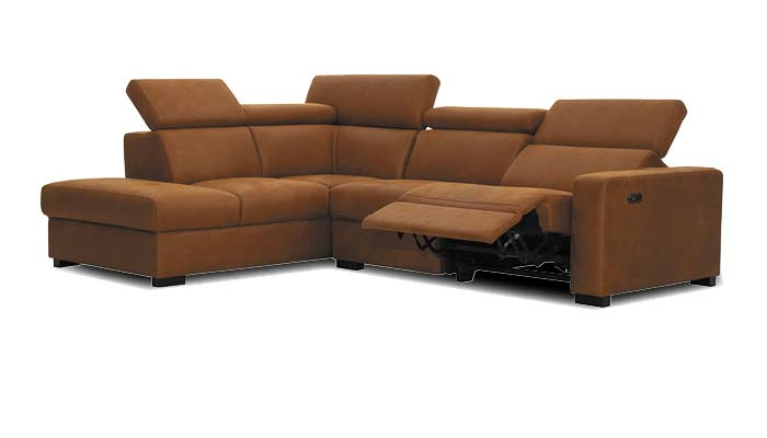 braunes Lounge Sofa mit Relaxfunktion